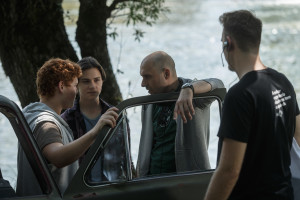 From the left: Jakob Cilenšek (Gregor), Matija Valant (Klemen), Martin Turk, director, August Braatz (1AD)